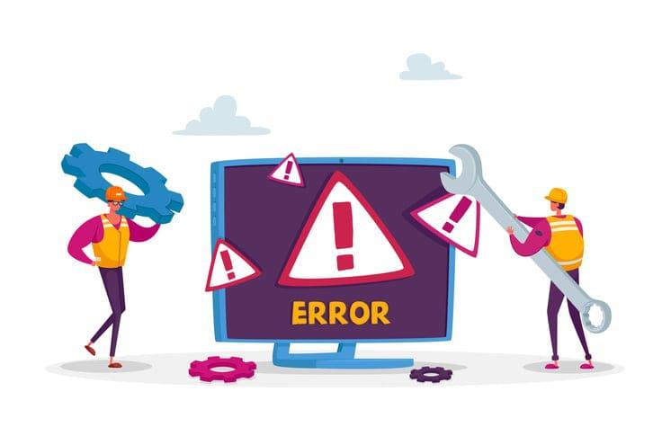 error code on website