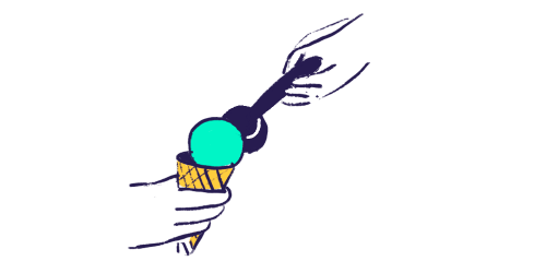 a scoop of ice cream with cone