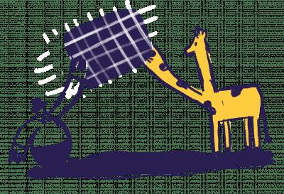man passing data to giraffe
