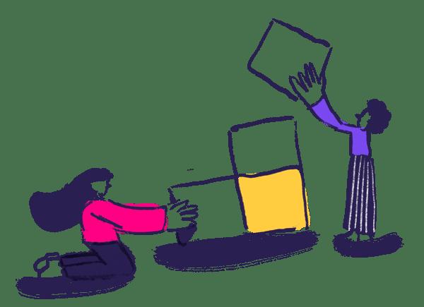 two people building blocks