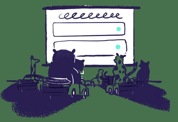 animals at outdoor cinema communicating