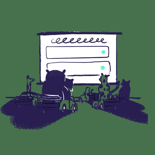 animals watching a computer screen