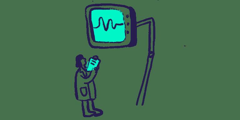 woman looking at monitor health