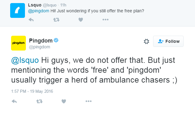 What Do Pingdom Have Against Free Customers